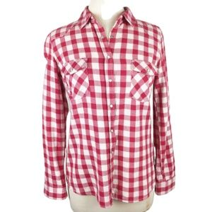 Lovestitch Red & White Flannel Gingham LS Shirt S